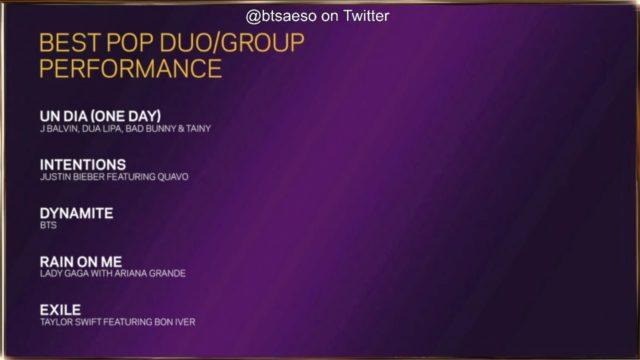 Grammys BTS nominee